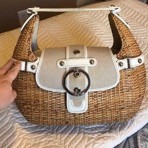 Rafe basket style handbag / pink gingham interior